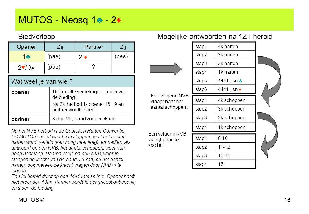 MUTOS - Neosq 1♣ - 2♦ Biedverloop Mogelijke antwoorden na 1ZT herbid