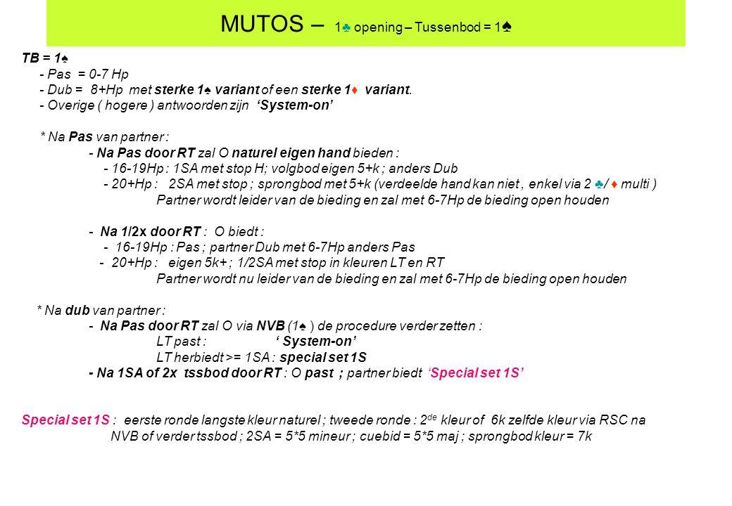 MUTOS – 1♣ opening – Tussenbod = 1♠