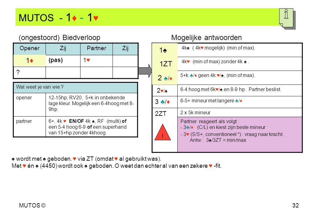 MUTOS - 1♦ - 1♥ (ongestoord) Biedverloop Mogelijke antwoorden 1♠ 1♦