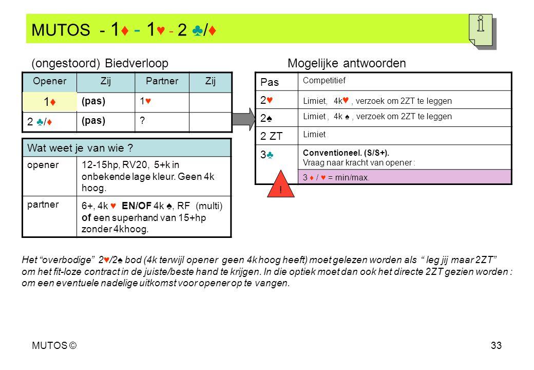 MUTOS - 1♦ - 1♥ - 2 ♣/♦ (ongestoord) Biedverloop Mogelijke antwoorden