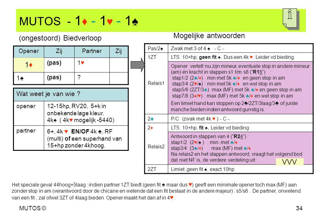 MUTOS - 1♦ - 1♥ - 1♠ Mogelijke antwoorden (ongestoord) Biedverloop 1♦
