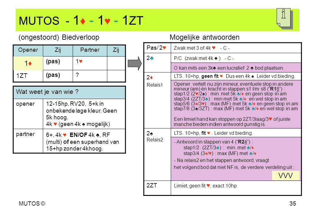 MUTOS - 1♦ - 1♥ - 1ZT (ongestoord) Biedverloop Mogelijke antwoorden 1♦