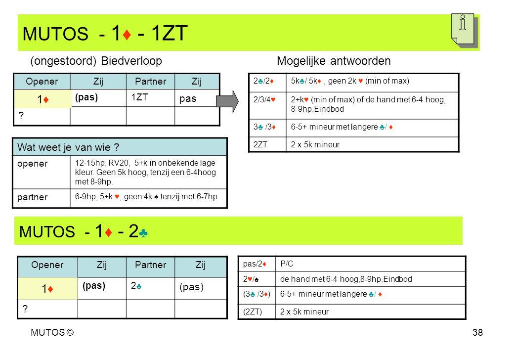MUTOS - 1♦ - 1ZT MUTOS - 1♦ - 2♣ (ongestoord) Biedverloop
