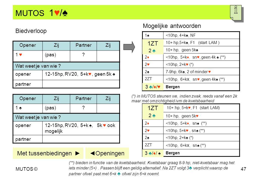 MUTOS 1♥/♠ Mogelijke antwoorden Biedverloop 1ZT 1ZT