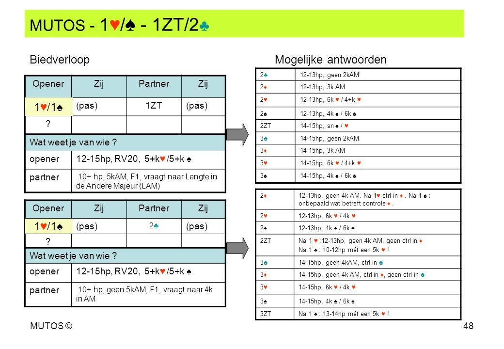 MUTOS - 1♥/♠ - 1ZT/2♣ Biedverloop Mogelijke antwoorden 1♥/1♠ 1♥/1♠
