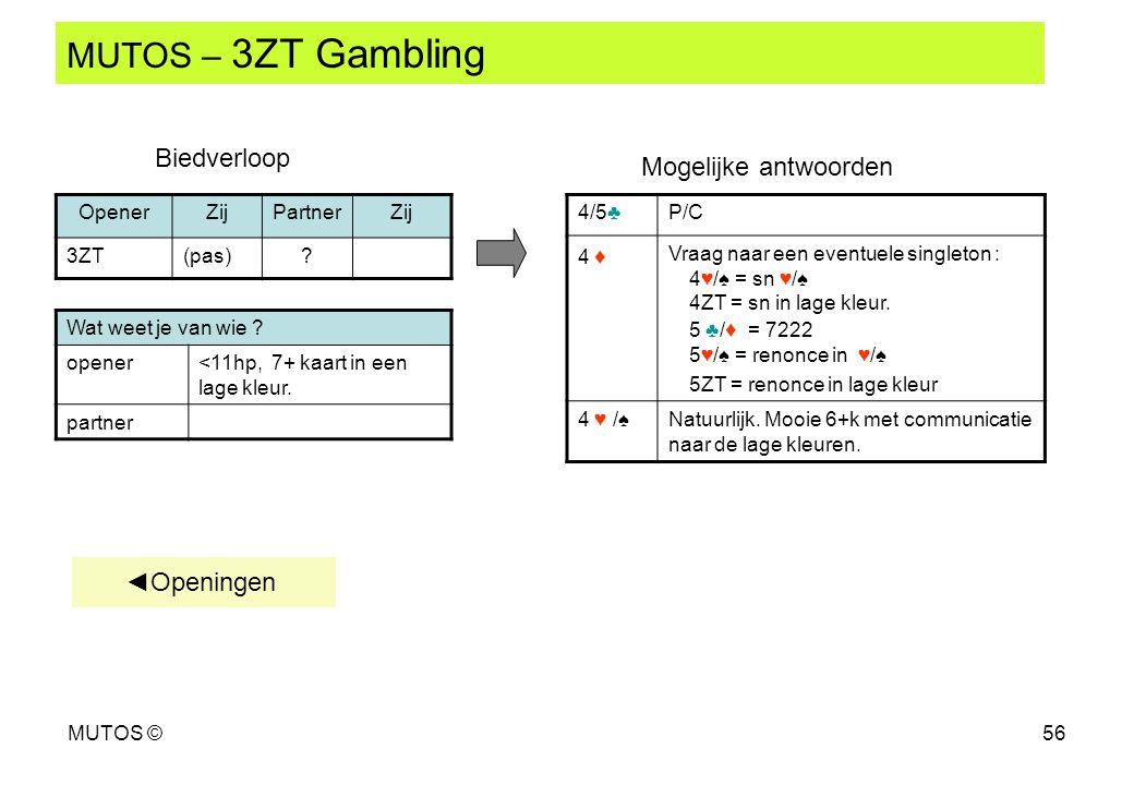 MUTOS – 3ZT Gambling Biedverloop Mogelijke antwoorden ◄Openingen