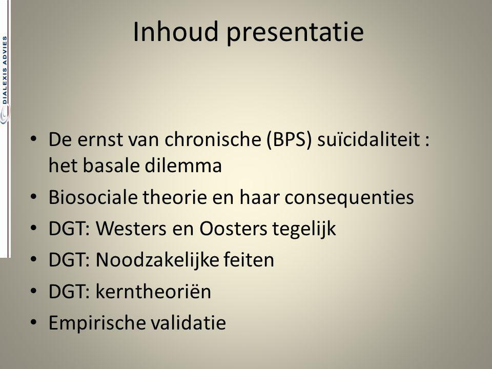 Inhoud presentatie De ernst van chronische (BPS) suïcidaliteit : het basale dilemma. Biosociale theorie en haar consequenties.