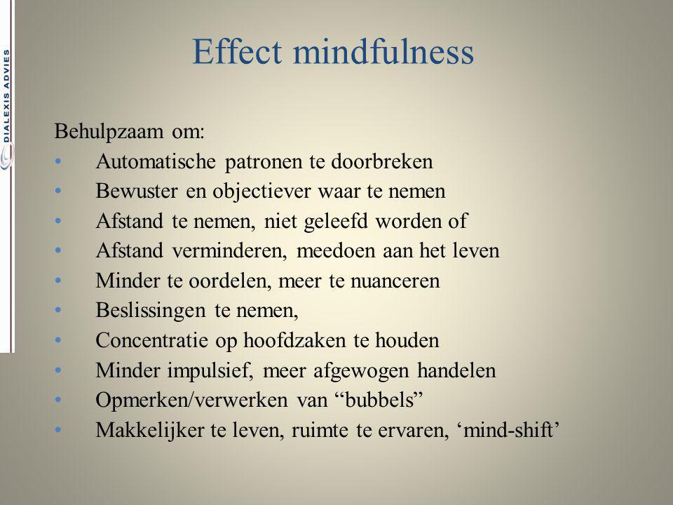Effect mindfulness Behulpzaam om: Automatische patronen te doorbreken
