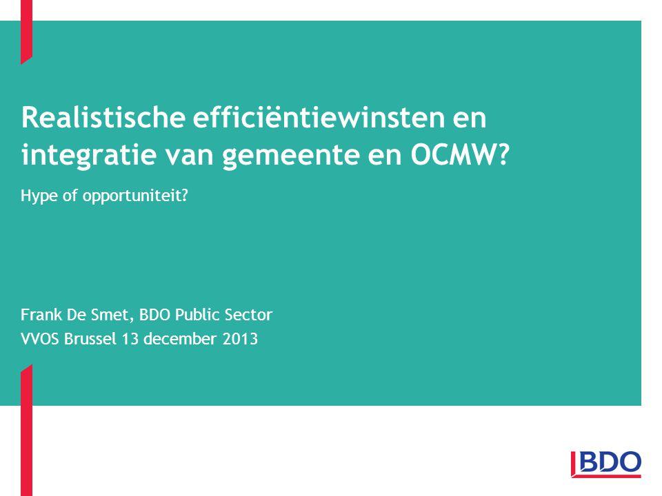 Realistische efficiëntiewinsten en integratie van gemeente en OCMW
