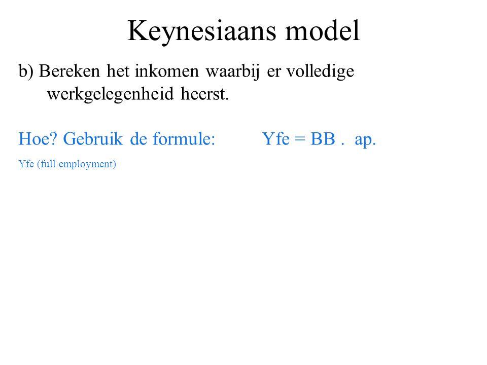 Keynesiaans model b) Bereken het inkomen waarbij er volledige werkgelegenheid heerst. Hoe Gebruik de formule: Yfe = BB . ap.