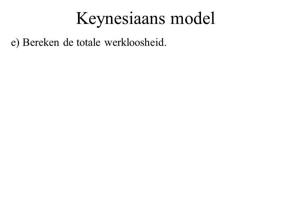Keynesiaans model e) Bereken de totale werkloosheid.