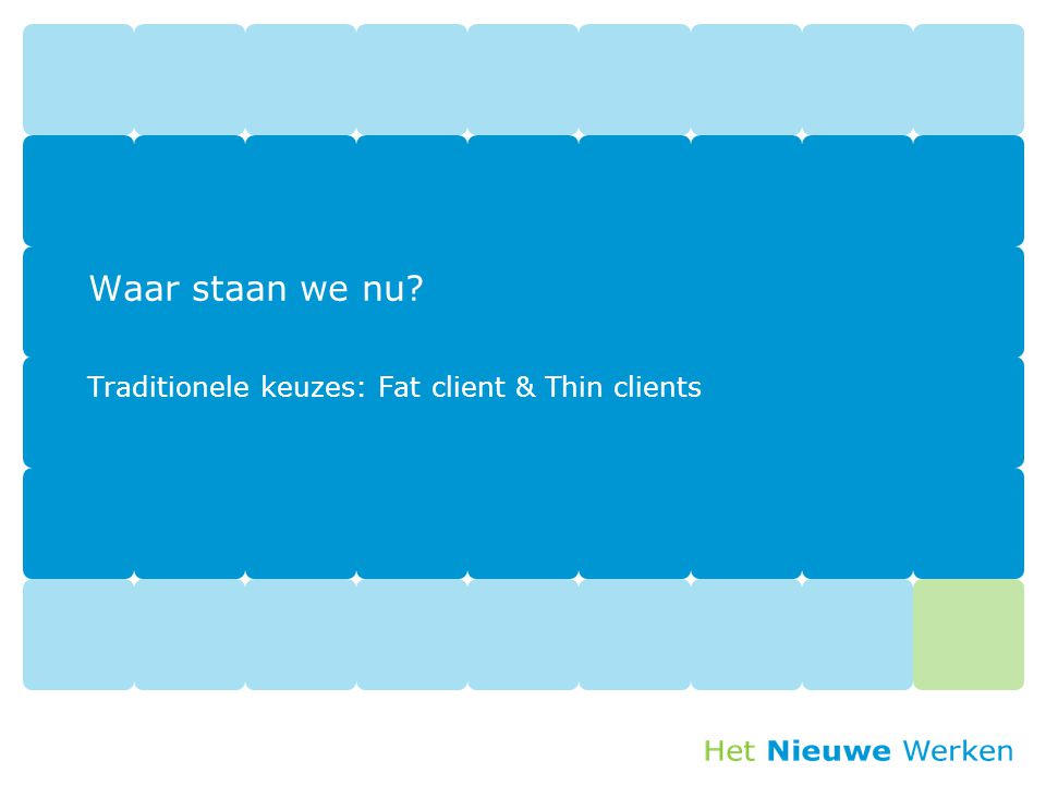 Traditionele keuzes: Fat client & Thin clients