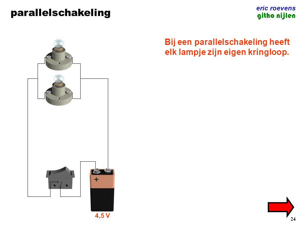 Bij een parallelschakeling heeft elk lampje zijn eigen kringloop.