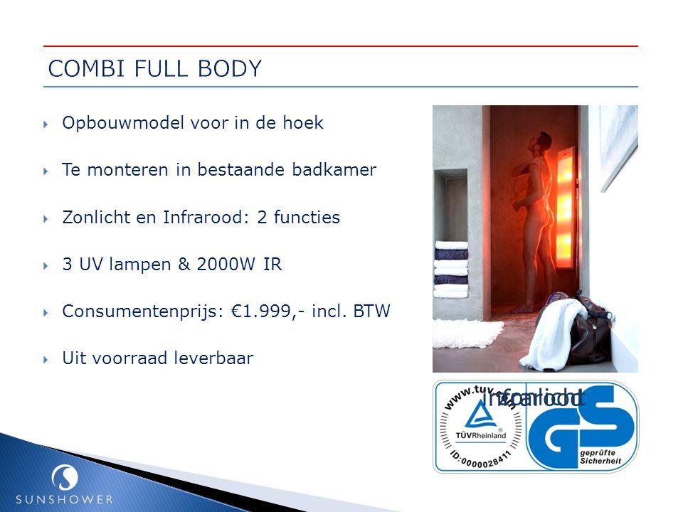 COMBI FULL BODY infrarood zonlicht Opbouwmodel voor in de hoek