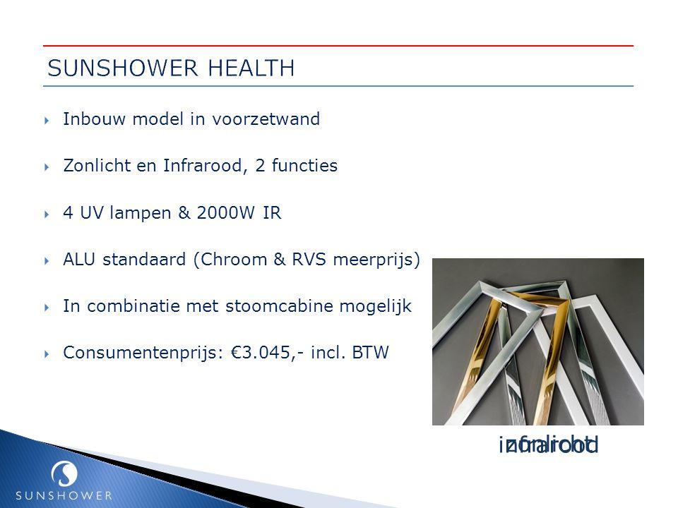 SUNSHOWER HEALTH infrarood zonlicht Inbouw model in voorzetwand