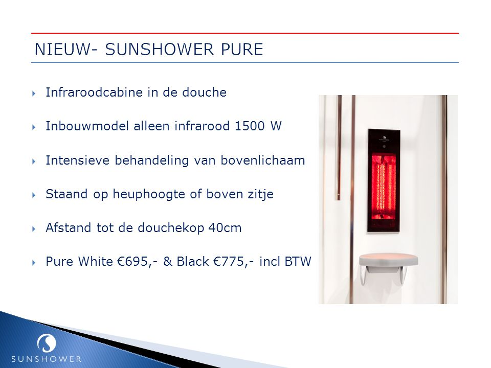 NIEUW- SUNSHOWER PURE Infraroodcabine in de douche