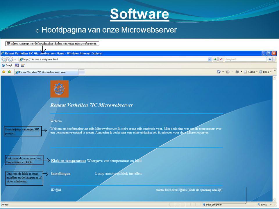 Software Hoofdpagina van onze Microwebserver