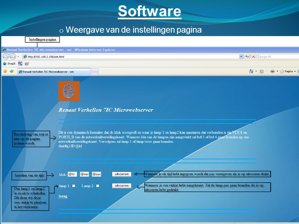 Software Weergave van de instellingen pagina
