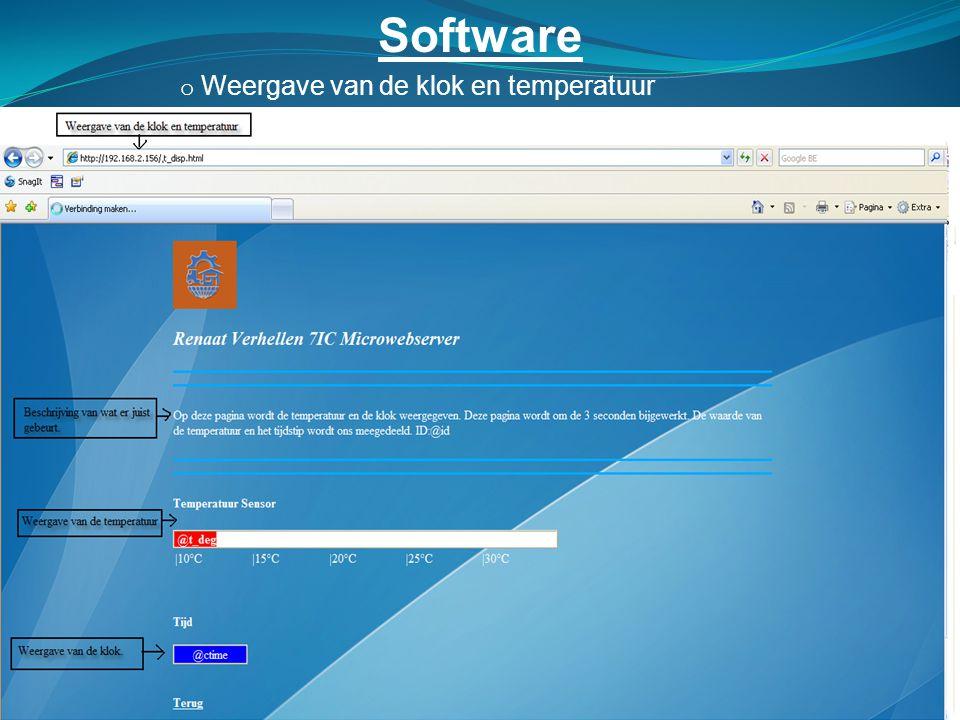 Software Weergave van de klok en temperatuur