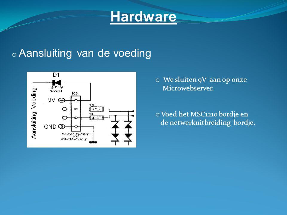Hardware Aansluiting van de voeding We sluiten 9V aan op onze