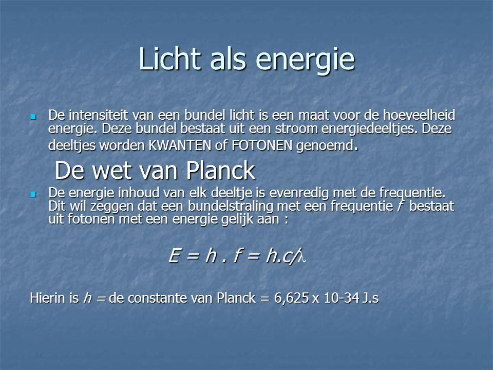 Licht als energie De wet van Planck E = h . f = h.c/l