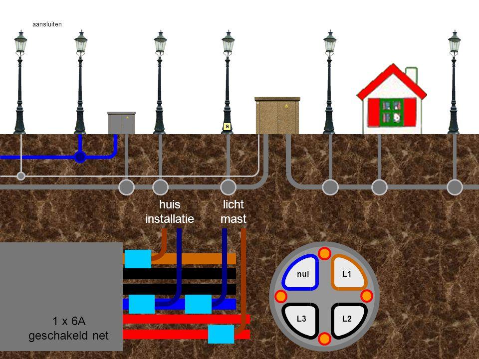 huis installatie licht mast 1 x 6A geschakeld net nul L1 L3 L2