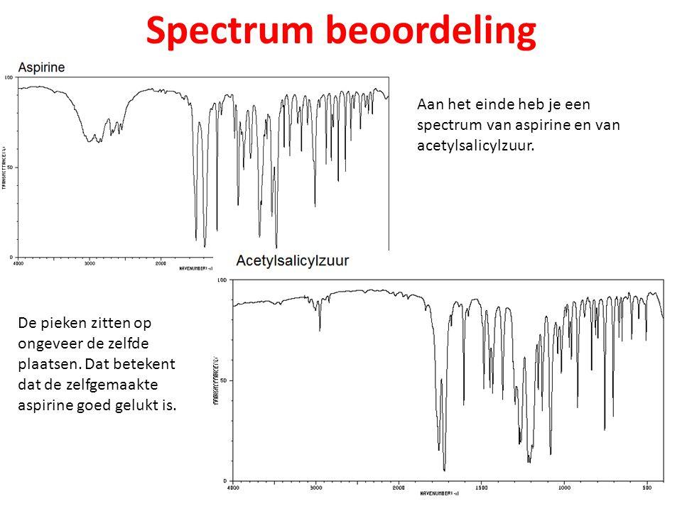Spectrum beoordeling Aan het einde heb je een spectrum van aspirine en van acetylsalicylzuur.