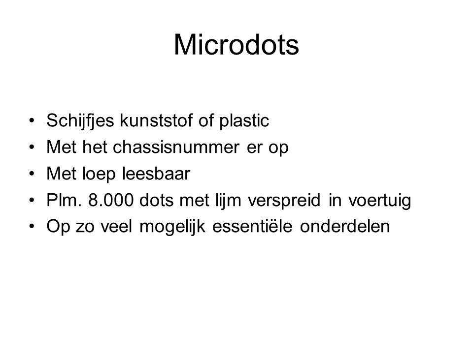 Microdots Schijfjes kunststof of plastic Met het chassisnummer er op