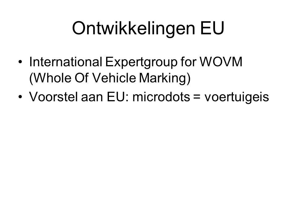 Ontwikkelingen EU International Expertgroup for WOVM (Whole Of Vehicle Marking) Voorstel aan EU: microdots = voertuigeis.