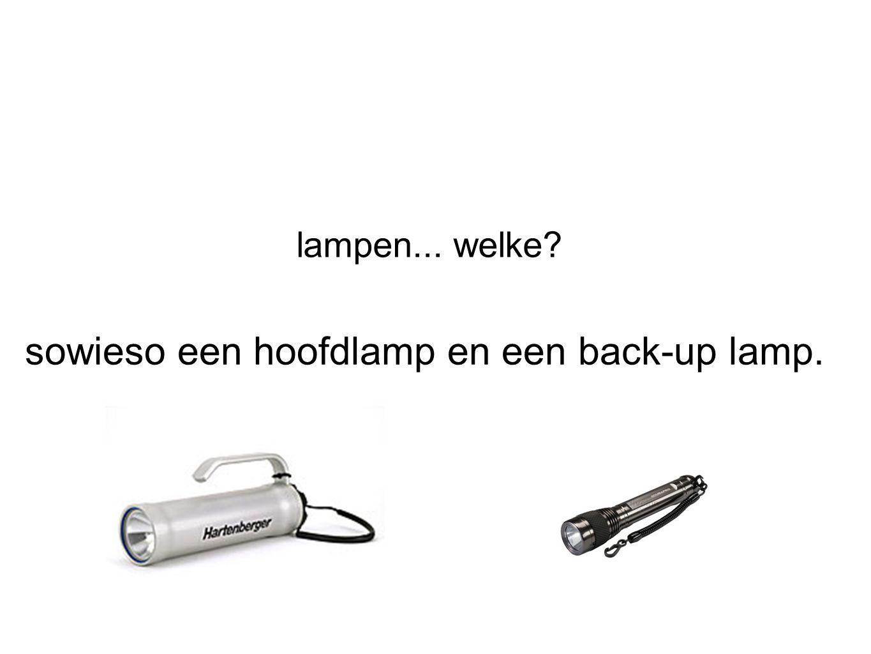 sowieso een hoofdlamp en een back-up lamp.