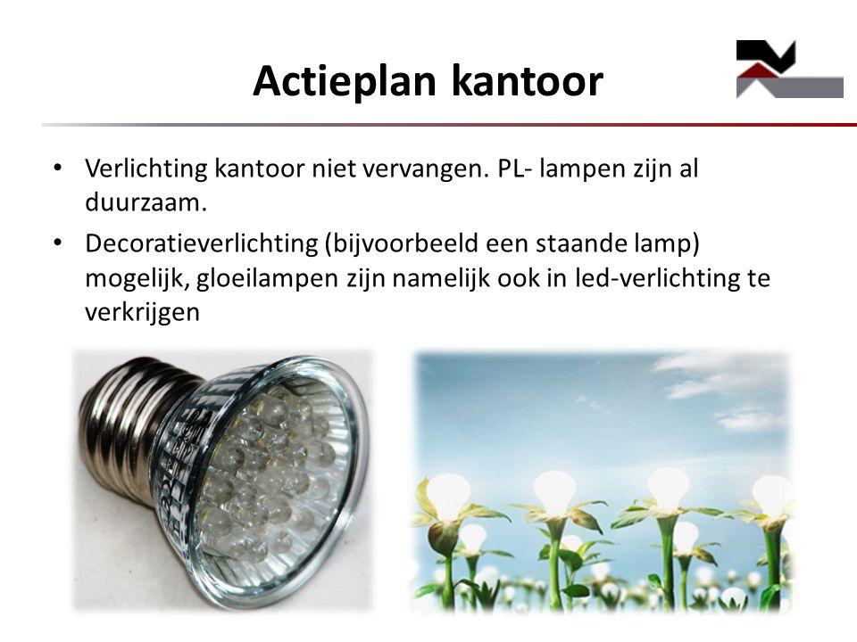 Actieplan kantoor Verlichting kantoor niet vervangen. PL- lampen zijn al duurzaam.