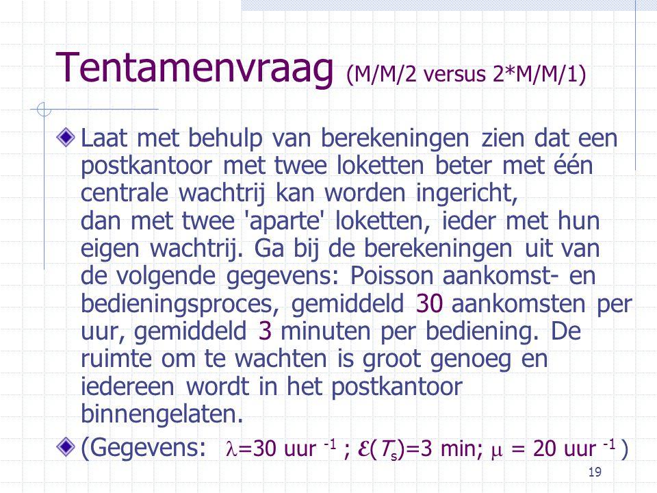 Tentamenvraag (M/M/2 versus 2*M/M/1)