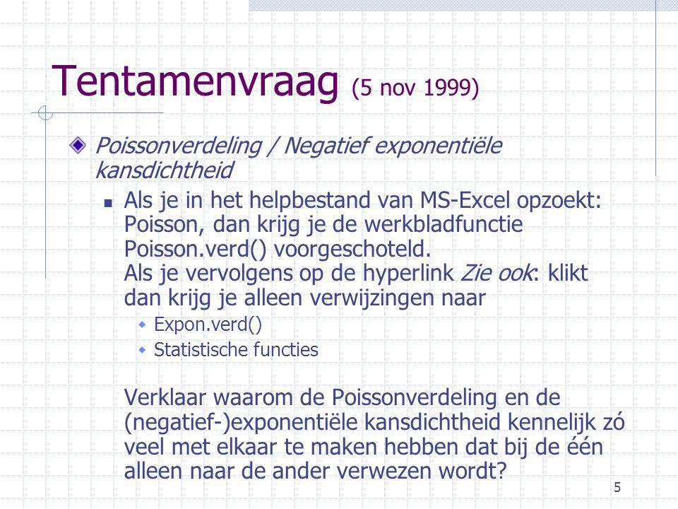Tentamenvraag (5 nov 1999) Poissonverdeling / Negatief exponentiële kansdichtheid.