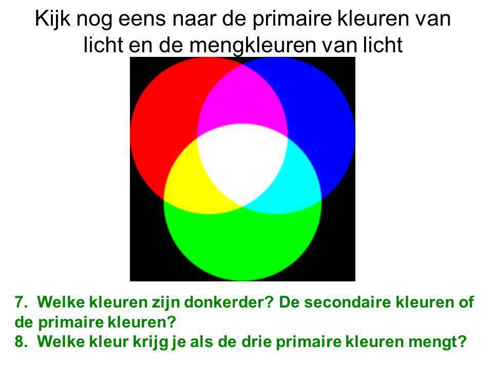 Kijk nog eens naar de primaire kleuren van licht en de mengkleuren van licht