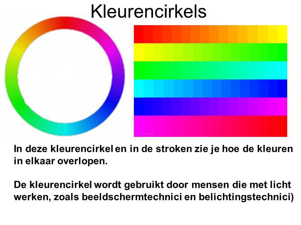 Kleurencirkels In deze kleurencirkel en in de stroken zie je hoe de kleuren in elkaar overlopen.