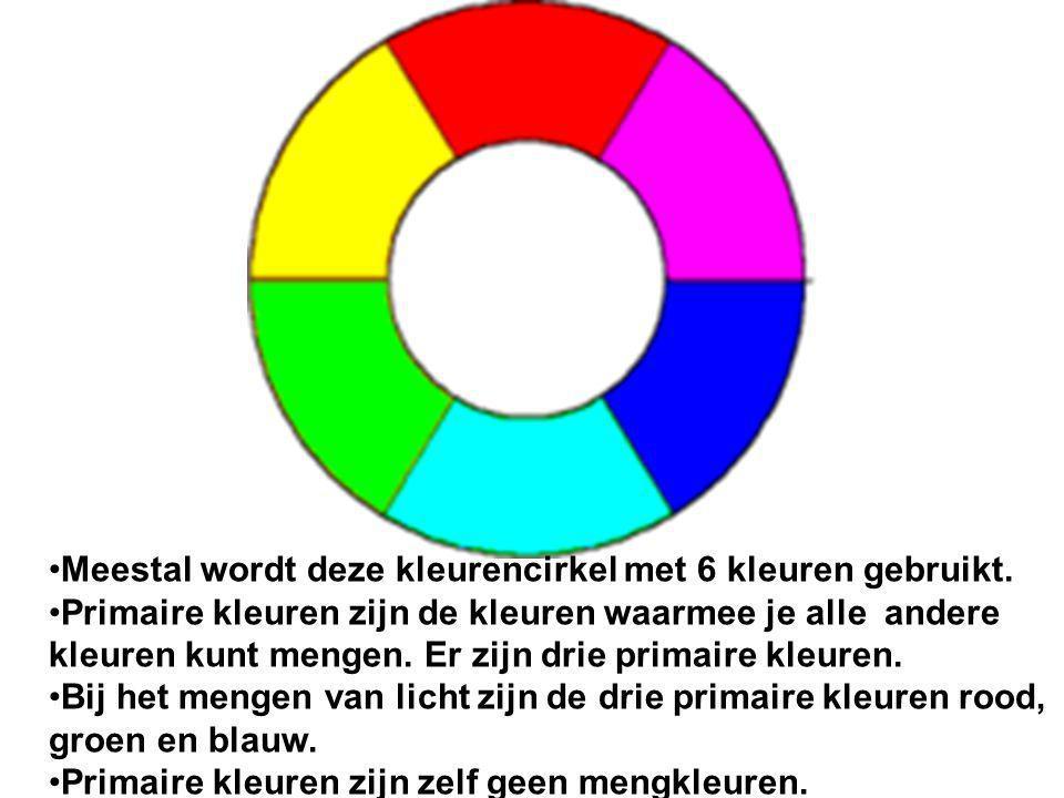 Meestal wordt deze kleurencirkel met 6 kleuren gebruikt.