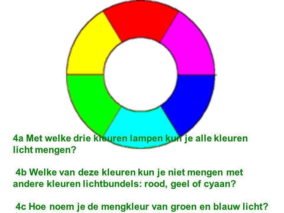 4a Met welke drie kleuren lampen kun je alle kleuren licht mengen