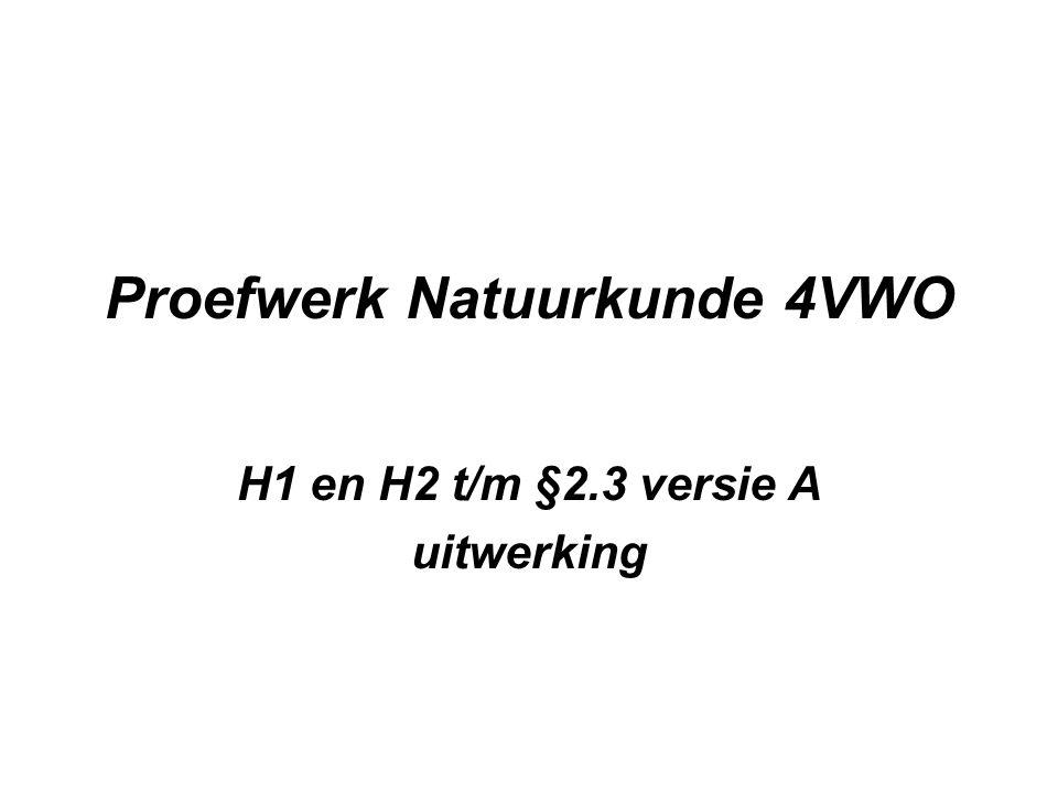 Proefwerk Natuurkunde 4VWO