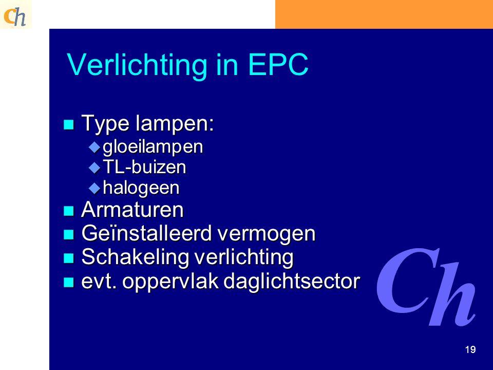 Verlichting in EPC Type lampen: Armaturen Geïnstalleerd vermogen