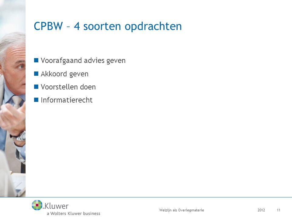 CPBW – 4 soorten opdrachten