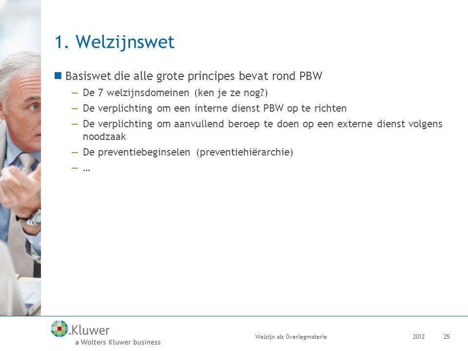 1. Welzijnswet Basiswet die alle grote principes bevat rond PBW