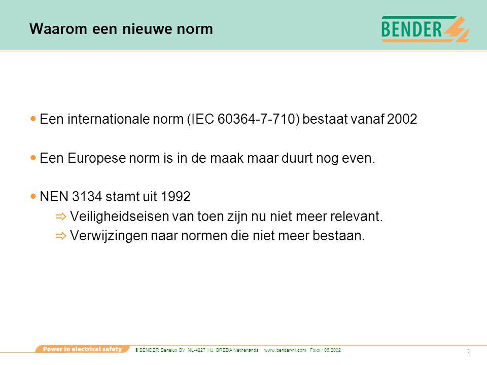 Waarom een nieuwe norm Een internationale norm (IEC 60364-7-710) bestaat vanaf 2002. Een Europese norm is in de maak maar duurt nog even.
