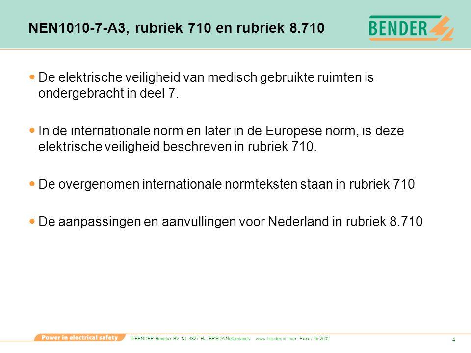 NEN1010-7-A3, rubriek 710 en rubriek 8.710