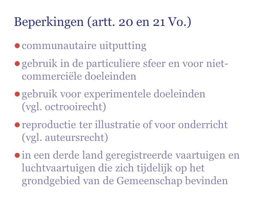 Beperkingen (artt. 20 en 21 Vo.)