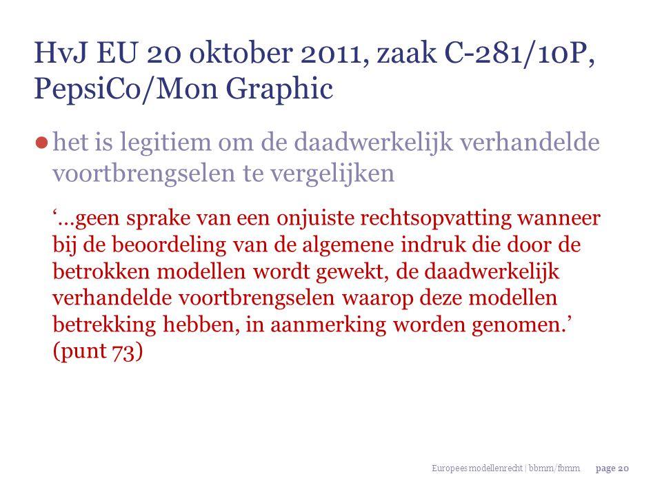 HvJ EU 20 oktober 2011, zaak C-281/10P, PepsiCo/Mon Graphic