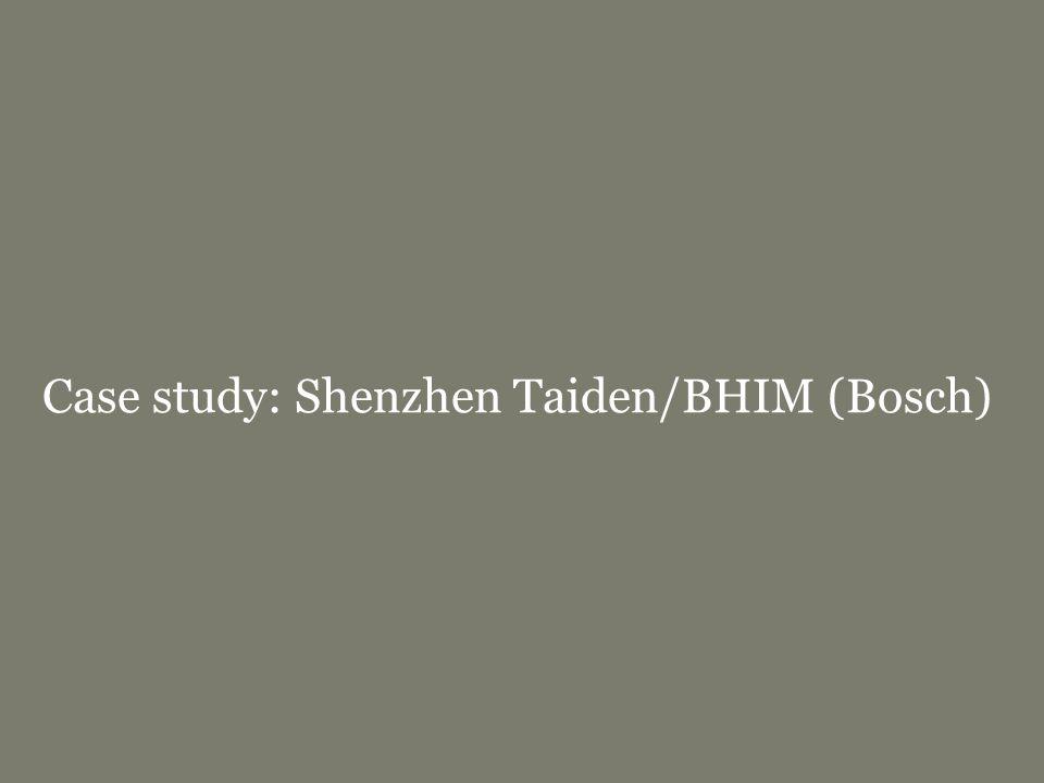 Case study: Shenzhen Taiden/BHIM (Bosch)