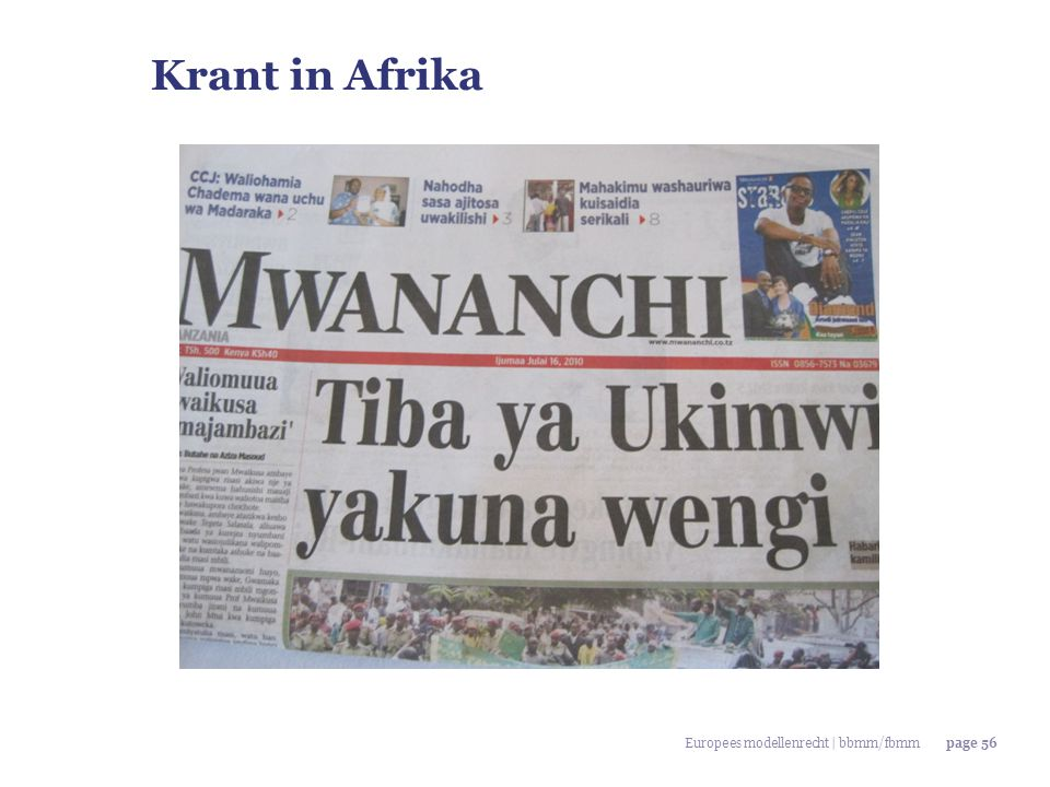 Krant in Afrika Europees modellenrecht | bbmm/fbmm