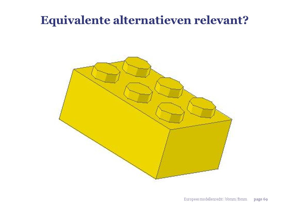 Equivalente alternatieven relevant