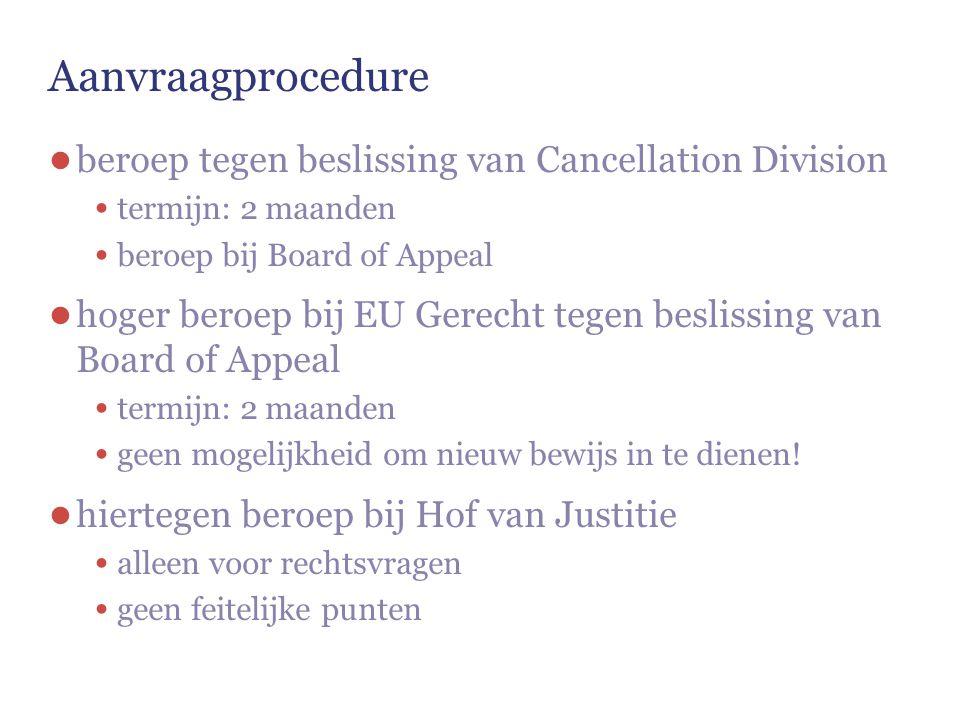 Aanvraagprocedure beroep tegen beslissing van Cancellation Division