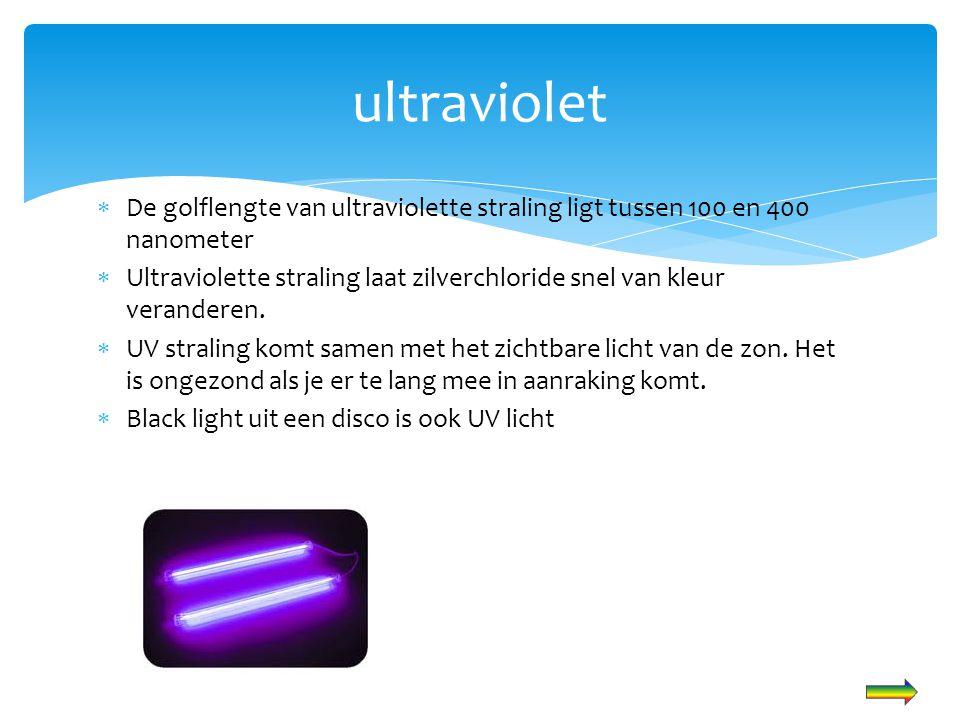 ultraviolet De golflengte van ultraviolette straling ligt tussen 100 en 400 nanometer.